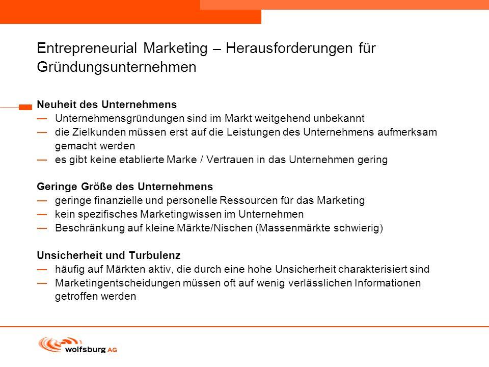 Navigationsleiste Aktueller Eintrag wird rot hervor- gehoben Navigationsleiste weiter Entrepreneurial Marketing – Herausforderungen für Gründungsunter