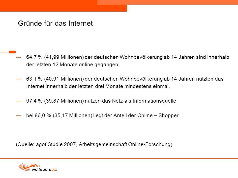 Navigationsleiste Aktueller Eintrag wird rot hervor- gehoben Navigationsleiste weiter Gründe für das Internet 64,7 % (41,99 Millionen) der deutschen W