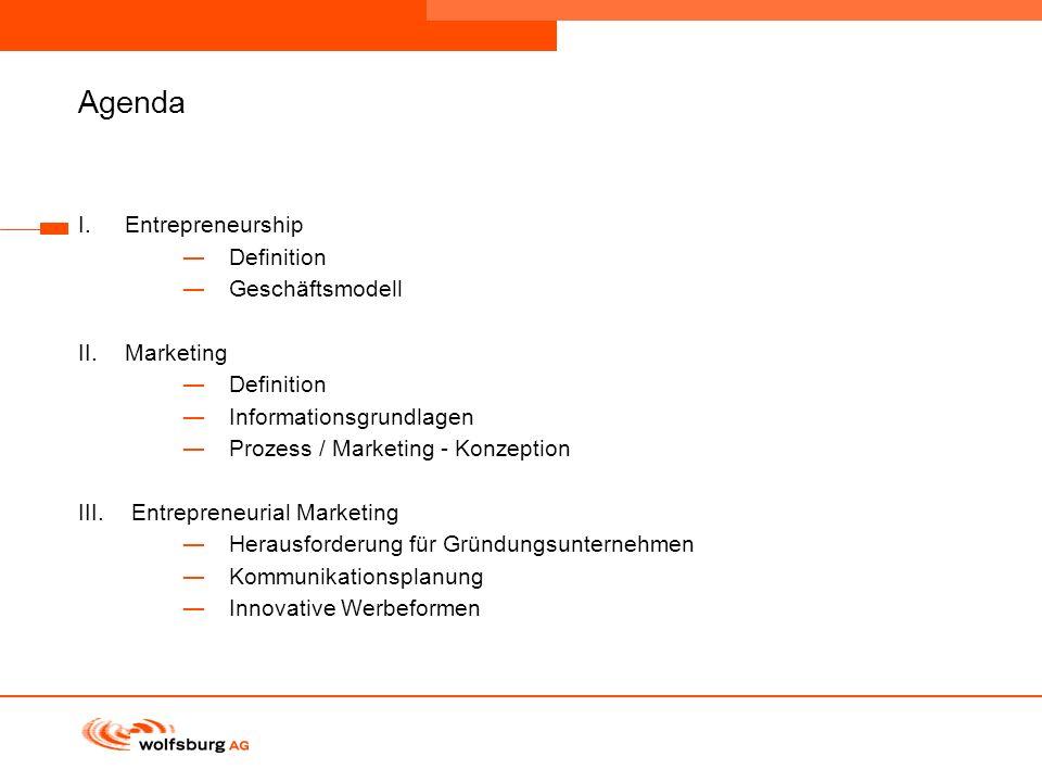 Navigationsleiste Aktueller Eintrag wird rot hervor- gehoben Navigationsleiste weiter Agenda I.Entrepreneurship Definition Geschäftsmodell II.Marketin