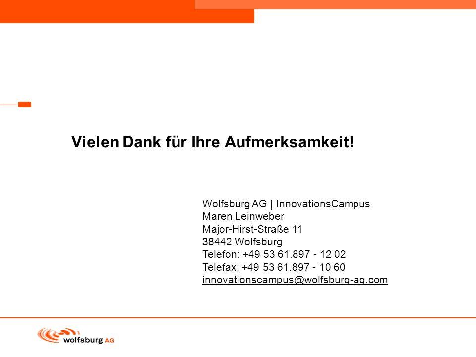 Navigationsleiste Aktueller Eintrag wird rot hervor- gehoben Navigationsleiste weiter Vielen Dank für Ihre Aufmerksamkeit! Wolfsburg AG | InnovationsC