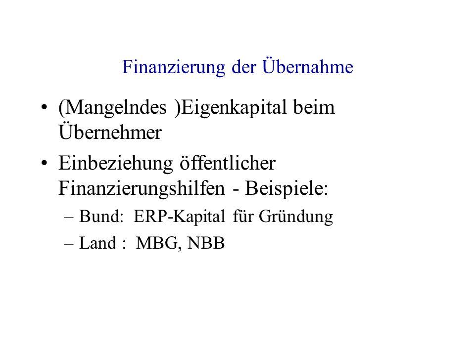 Finanzierung der Übernahme (Mangelndes )Eigenkapital beim Übernehmer Einbeziehung öffentlicher Finanzierungshilfen - Beispiele: –Bund: ERP-Kapital für