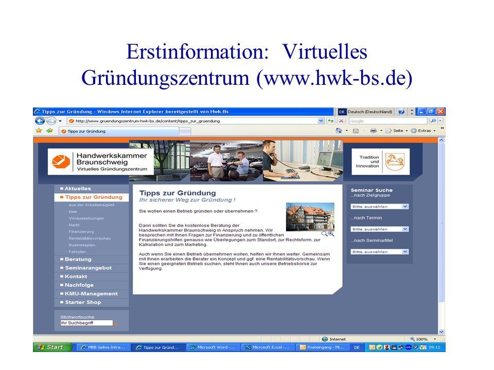 Erstinformation: Virtuelles Gründungszentrum (www.hwk-bs.de)