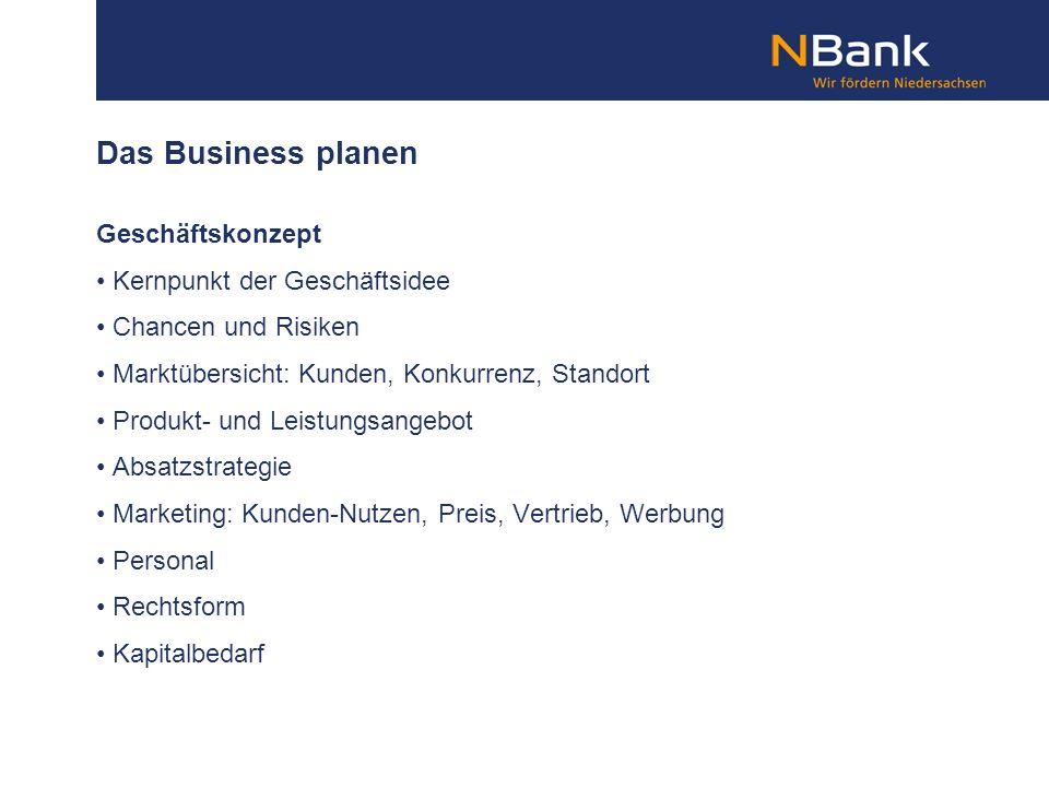 Das Business planen Geschäftskonzept Kernpunkt der Geschäftsidee Chancen und Risiken Marktübersicht: Kunden, Konkurrenz, Standort Produkt- und Leistun