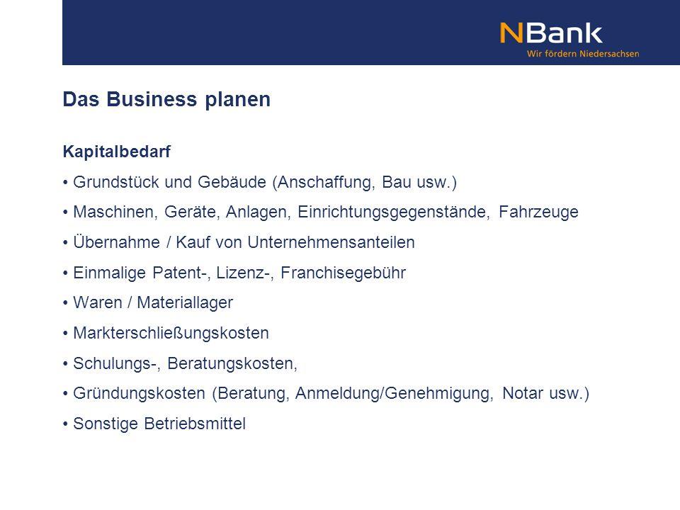 Das Business planen Kapitalbedarf Grundstück und Gebäude (Anschaffung, Bau usw.) Maschinen, Geräte, Anlagen, Einrichtungsgegenstände, Fahrzeuge Überna