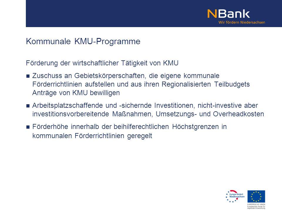 Kommunale KMU-Programme Förderung der wirtschaftlicher Tätigkeit von KMU Zuschuss an Gebietskörperschaften, die eigene kommunale Förderrichtlinien auf