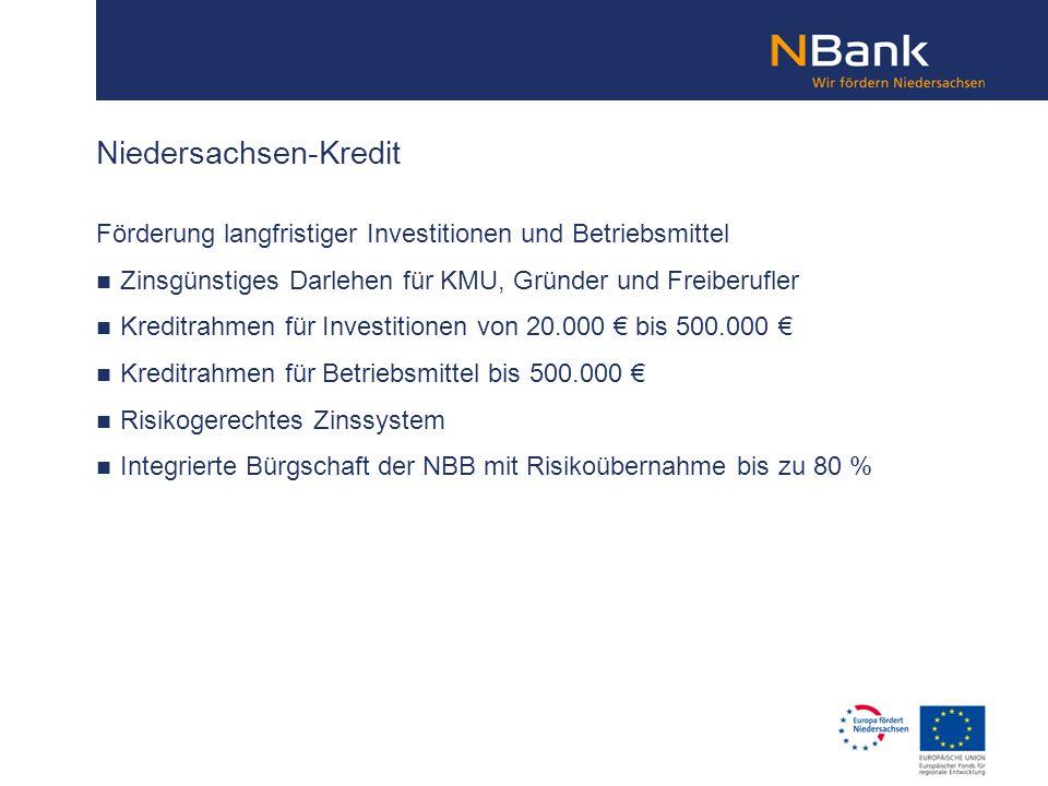 Förderung langfristiger Investitionen und Betriebsmittel Zinsgünstiges Darlehen für KMU, Gründer und Freiberufler Kreditrahmen für Investitionen von 2