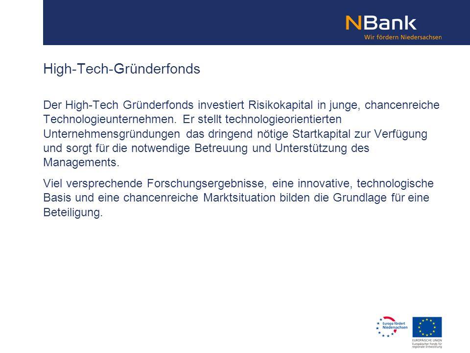 Der High-Tech Gründerfonds investiert Risikokapital in junge, chancenreiche Technologieunternehmen. Er stellt technologieorientierten Unternehmensgrün