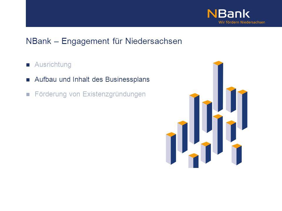 NBank – Engagement für Niedersachsen Ausrichtung Aufbau und Inhalt des Businessplans Förderung von Existenzgründungen