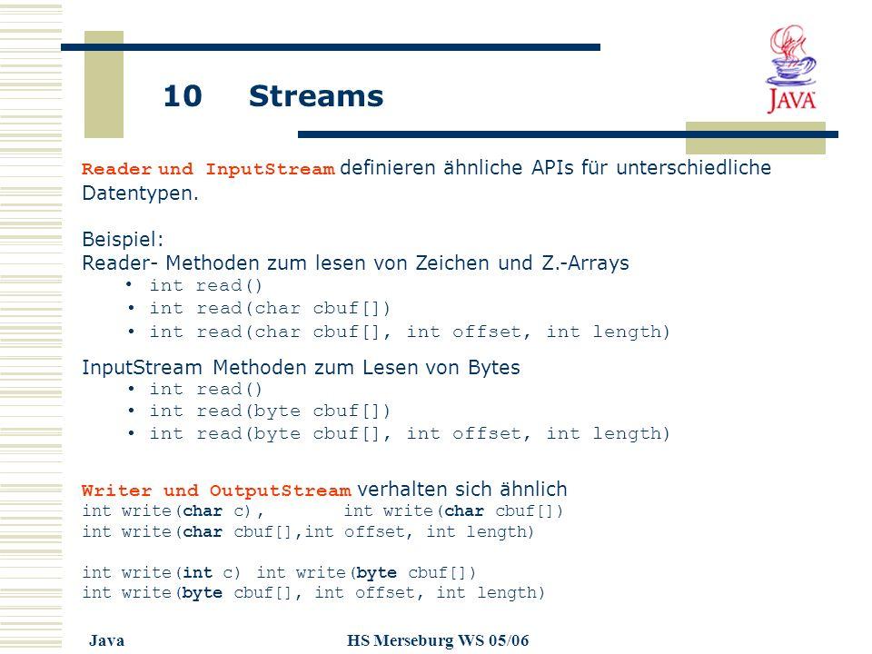 10 Streams JavaHS Merseburg WS 05/06 Reader und InputStream definieren ähnliche APIs für unterschiedliche Datentypen. Beispiel: Reader- Methoden zum l