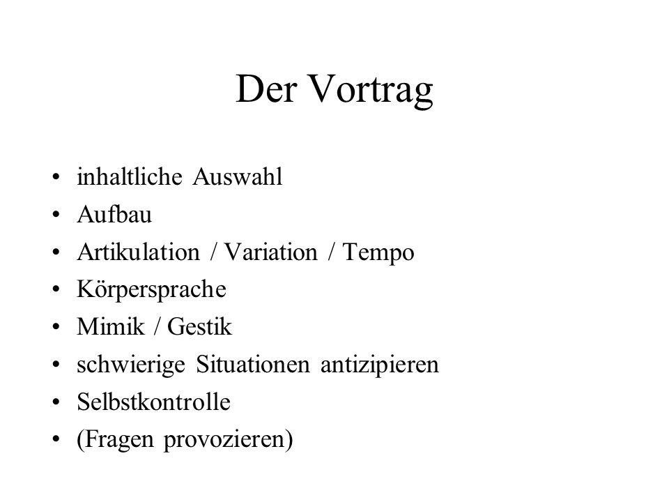 Der Vortrag inhaltliche Auswahl Aufbau Artikulation / Variation / Tempo Körpersprache Mimik / Gestik schwierige Situationen antizipieren Selbstkontrol