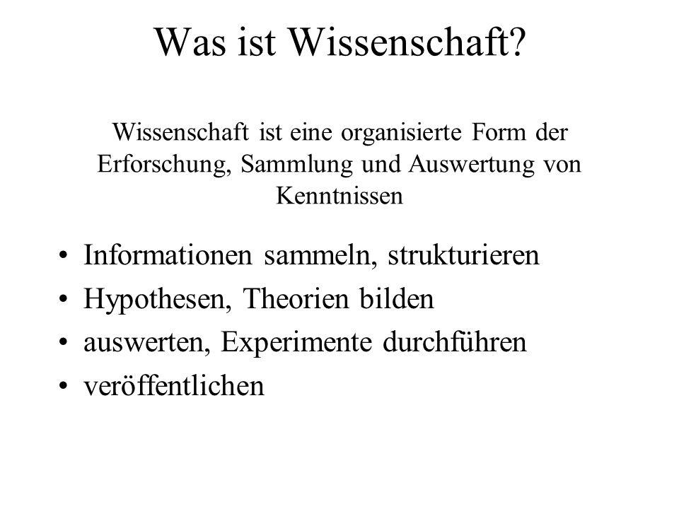 Was ist Wissenschaft? Wissenschaft ist eine organisierte Form der Erforschung, Sammlung und Auswertung von Kenntnissen Informationen sammeln, struktur