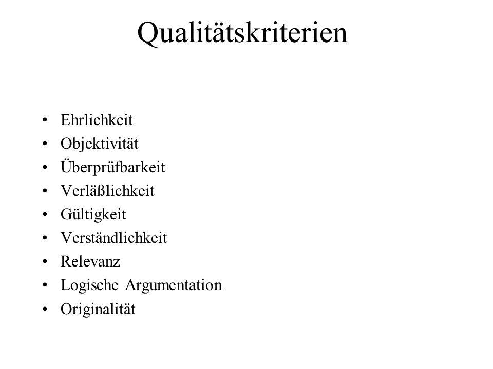 Qualitätskriterien Ehrlichkeit Objektivität Überprüfbarkeit Verläßlichkeit Gültigkeit Verständlichkeit Relevanz Logische Argumentation Originalität