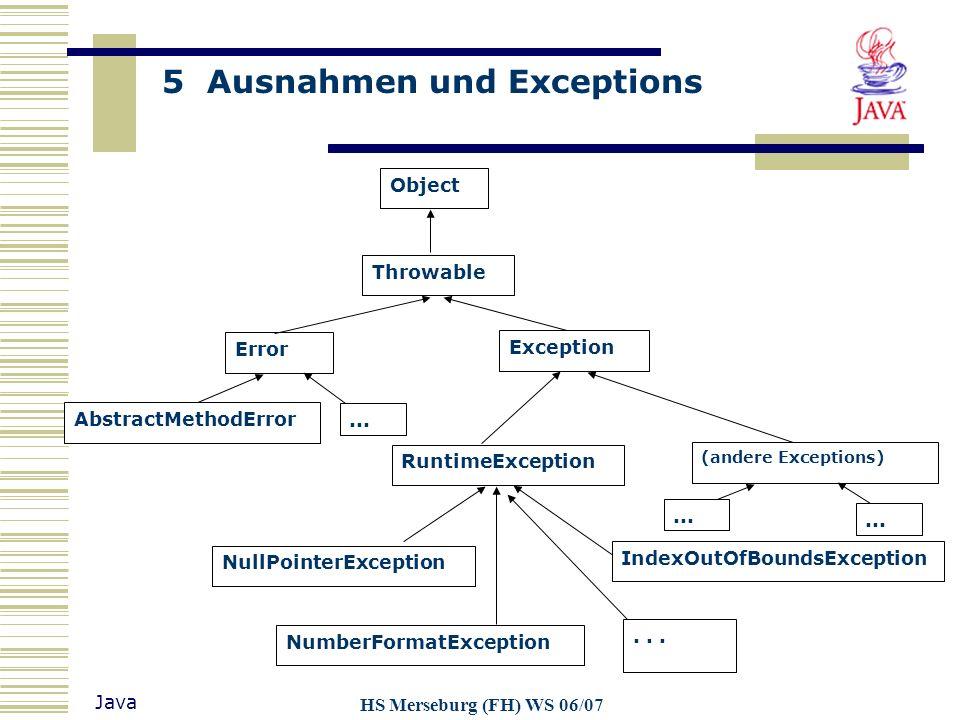 5 Ausnahmen und Exceptions Java HS Merseburg (FH) WS 06/07 Object Throwable Exception Error (andere Exceptions) RuntimeException AbstractMethodError N