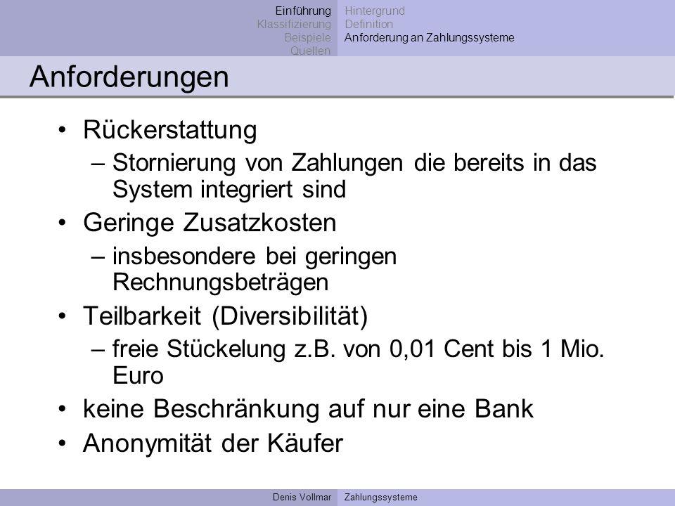 Denis VollmarZahlungssysteme Rückerstattung –Stornierung von Zahlungen die bereits in das System integriert sind Geringe Zusatzkosten –insbesondere be