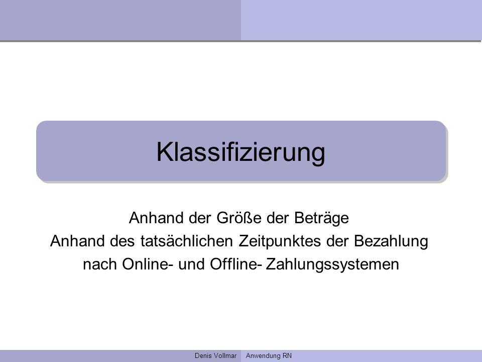Denis VollmarAnwendung RN Klassifizierung Anhand der Größe der Beträge Anhand des tatsächlichen Zeitpunktes der Bezahlung nach Online- und Offline- Za