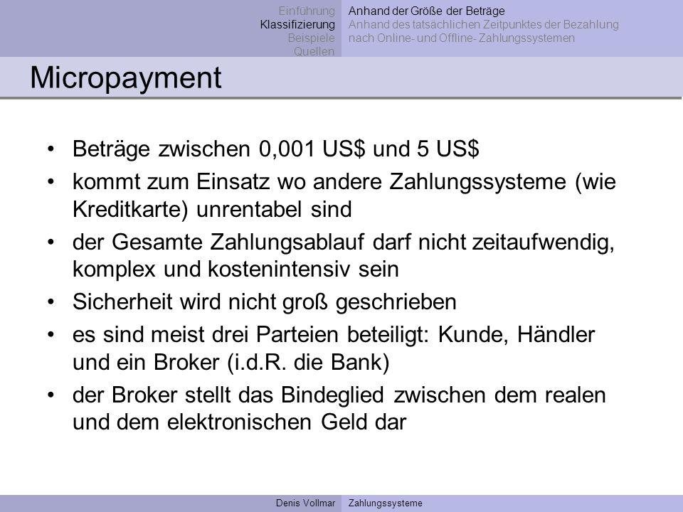 Denis VollmarZahlungssysteme Micropayment Beträge zwischen 0,001 US$ und 5 US$ kommt zum Einsatz wo andere Zahlungssysteme (wie Kreditkarte) unrentabe
