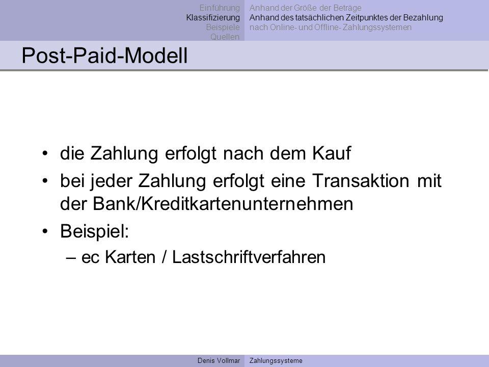 Denis VollmarZahlungssysteme Post-Paid-Modell die Zahlung erfolgt nach dem Kauf bei jeder Zahlung erfolgt eine Transaktion mit der Bank/Kreditkartenun