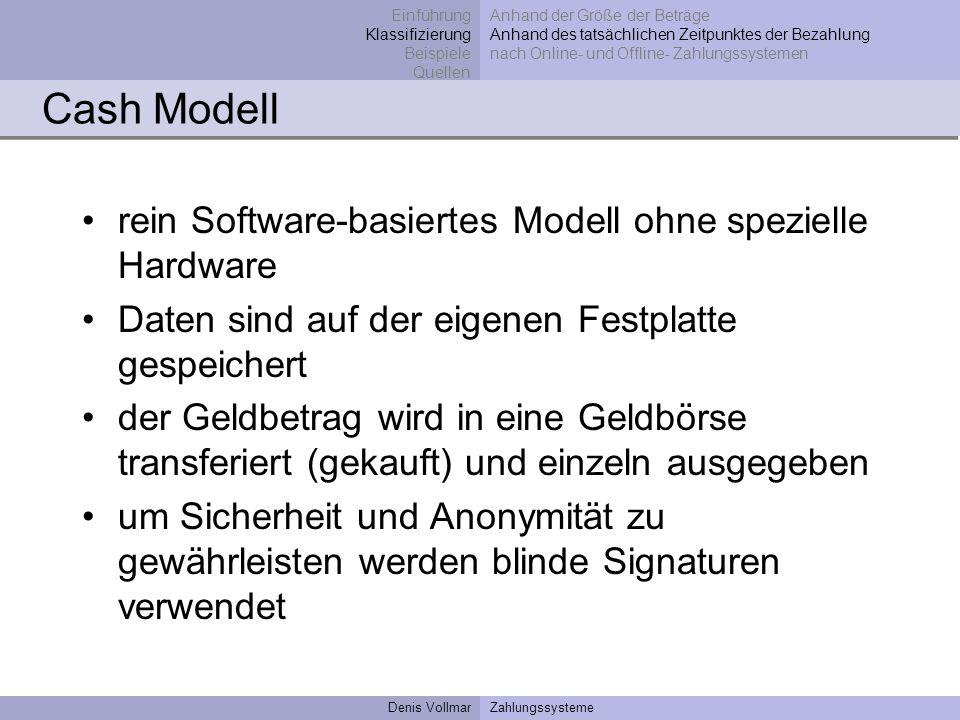 Denis VollmarZahlungssysteme Cash Modell rein Software-basiertes Modell ohne spezielle Hardware Daten sind auf der eigenen Festplatte gespeichert der