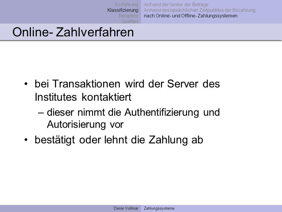 Denis VollmarZahlungssysteme Online- Zahlverfahren bei Transaktionen wird der Server des Institutes kontaktiert –dieser nimmt die Authentifizierung un