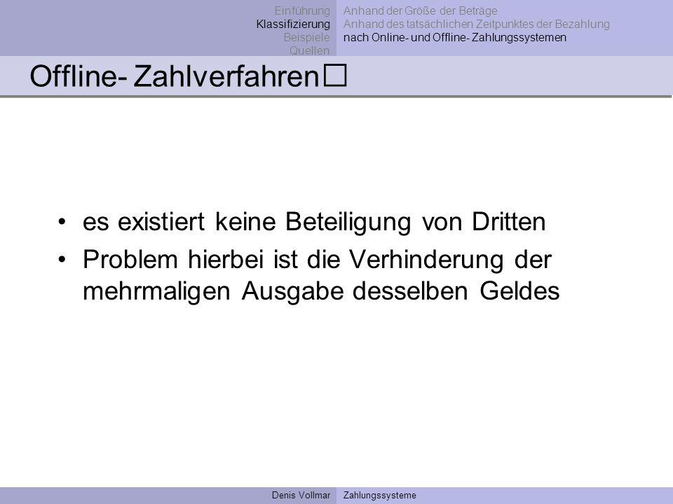 Denis VollmarZahlungssysteme Offline- Zahlverfahren es existiert keine Beteiligung von Dritten Problem hierbei ist die Verhinderung der mehrmaligen Au