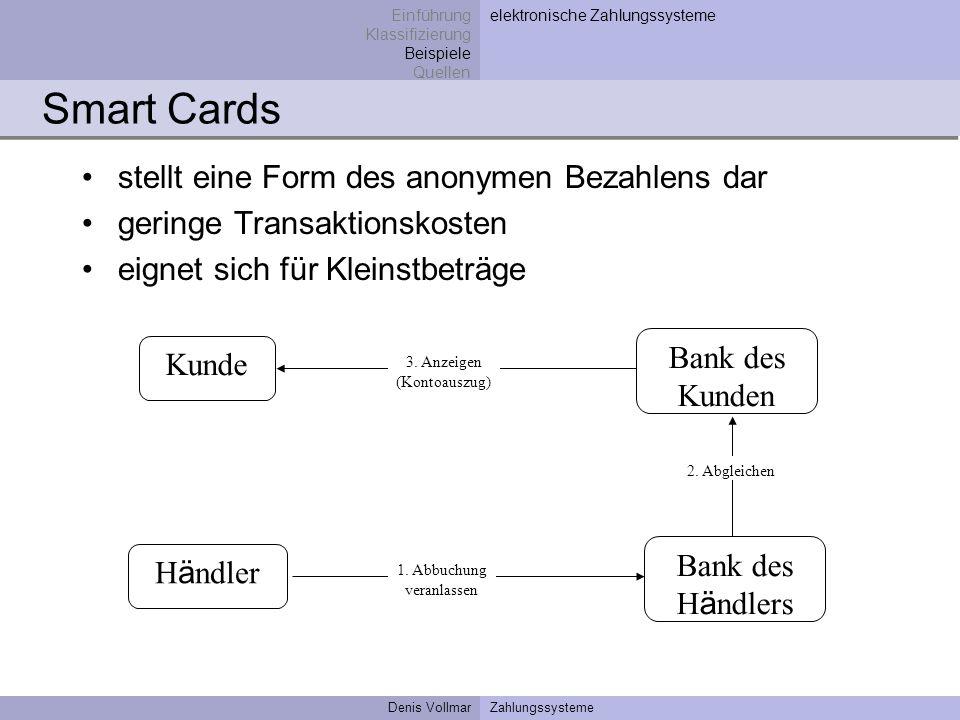 Denis VollmarZahlungssysteme Smart Cards stellt eine Form des anonymen Bezahlens dar geringe Transaktionskosten eignet sich für Kleinstbeträge Einführ