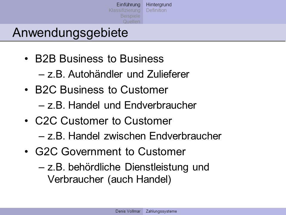 Denis VollmarZahlungssysteme Anwendungsgebiete B2B Business to Business –z.B. Autohändler und Zulieferer B2C Business to Customer –z.B. Handel und End