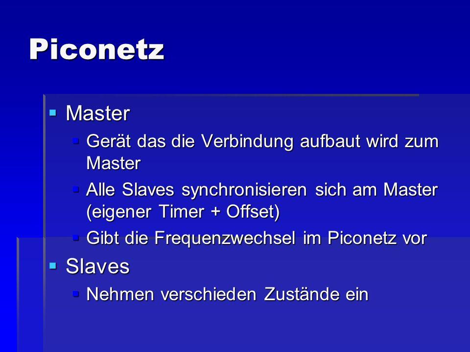 Piconetz Master Master Gerät das die Verbindung aufbaut wird zum Master Gerät das die Verbindung aufbaut wird zum Master Alle Slaves synchronisieren s