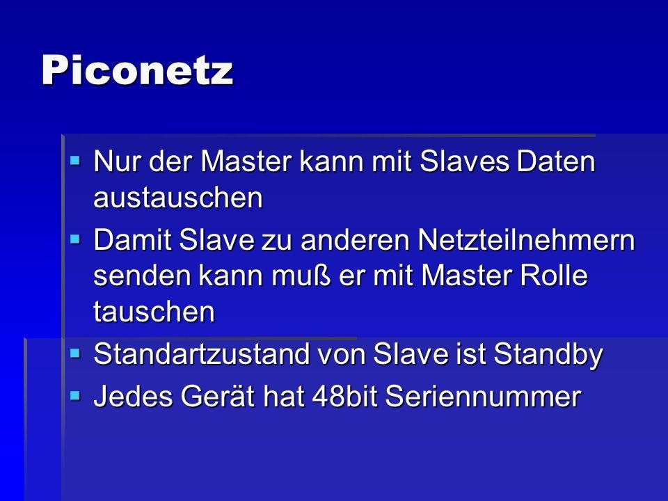 Piconetz Nur der Master kann mit Slaves Daten austauschen Nur der Master kann mit Slaves Daten austauschen Damit Slave zu anderen Netzteilnehmern send
