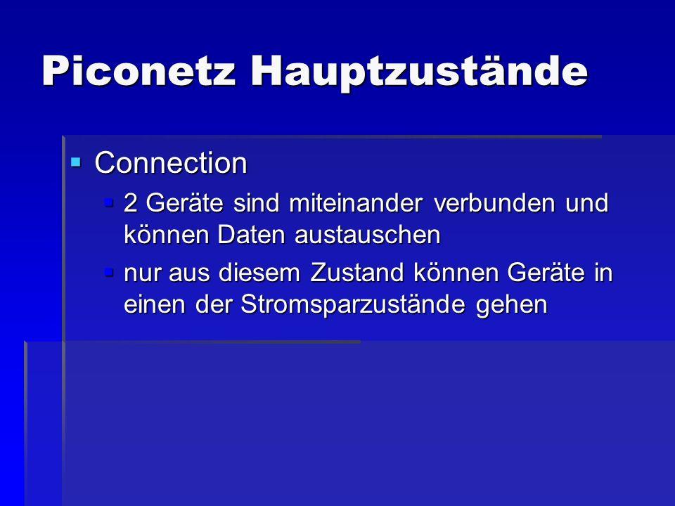 Piconetz Hauptzustände Connection Connection 2 Geräte sind miteinander verbunden und können Daten austauschen 2 Geräte sind miteinander verbunden und