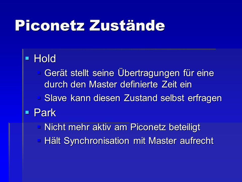 Piconetz Zustände Hold Hold Gerät stellt seine Übertragungen für eine durch den Master definierte Zeit ein Gerät stellt seine Übertragungen für eine d