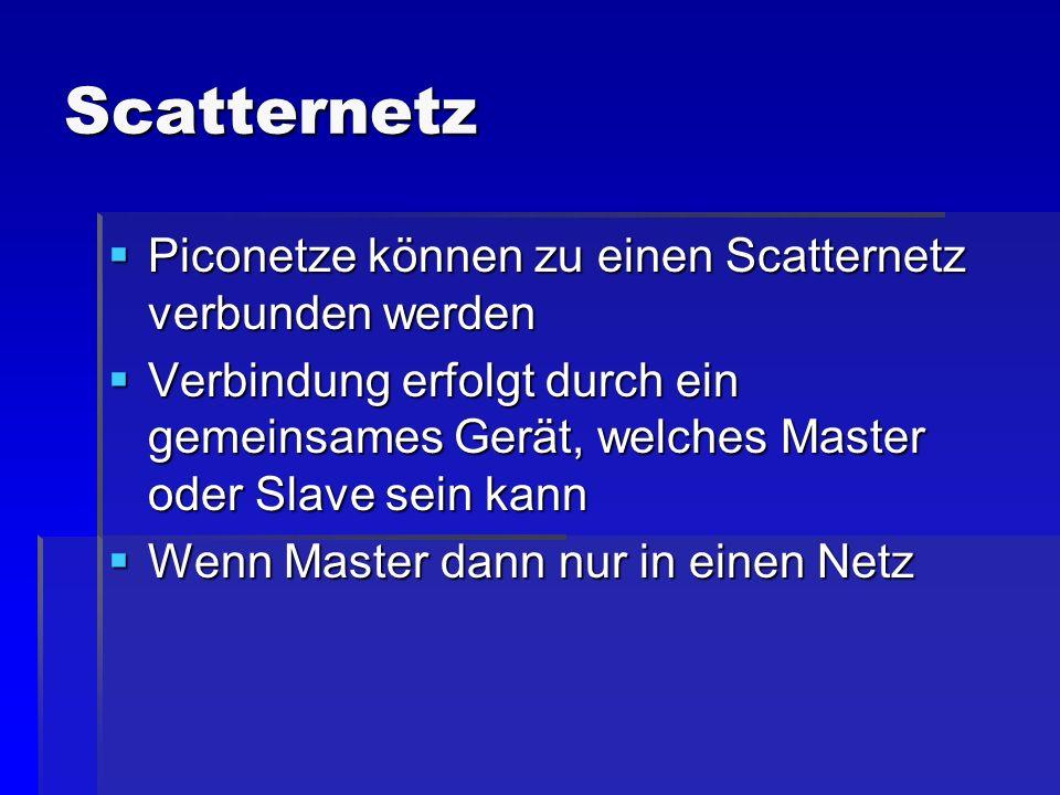 Scatternetz Piconetze können zu einen Scatternetz verbunden werden Piconetze können zu einen Scatternetz verbunden werden Verbindung erfolgt durch ein