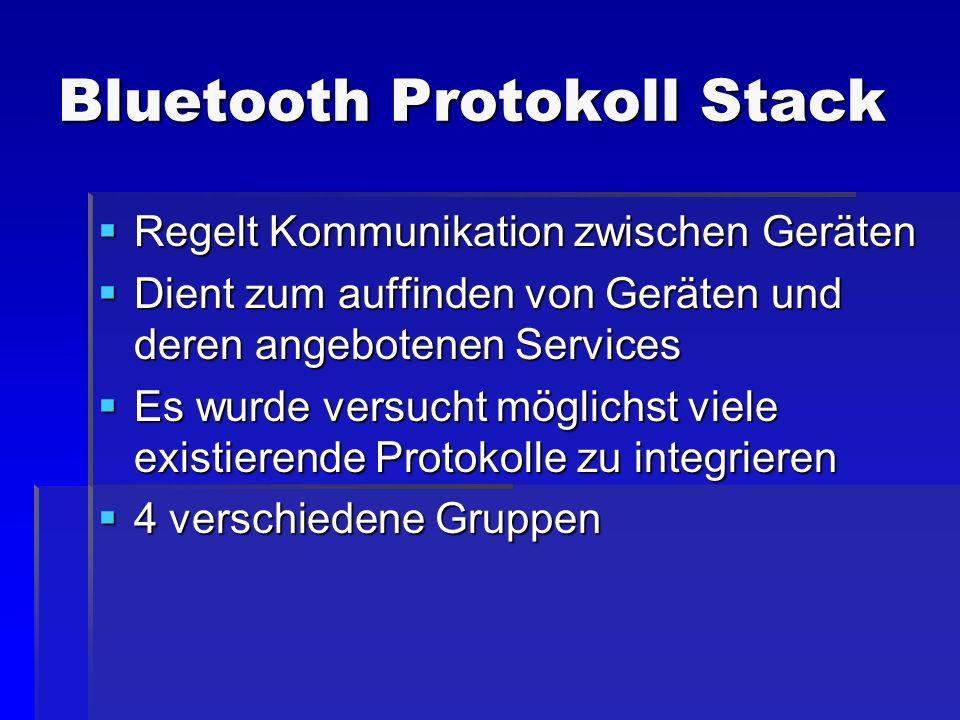 Bluetooth Protokoll Stack Regelt Kommunikation zwischen Geräten Regelt Kommunikation zwischen Geräten Dient zum auffinden von Geräten und deren angebo