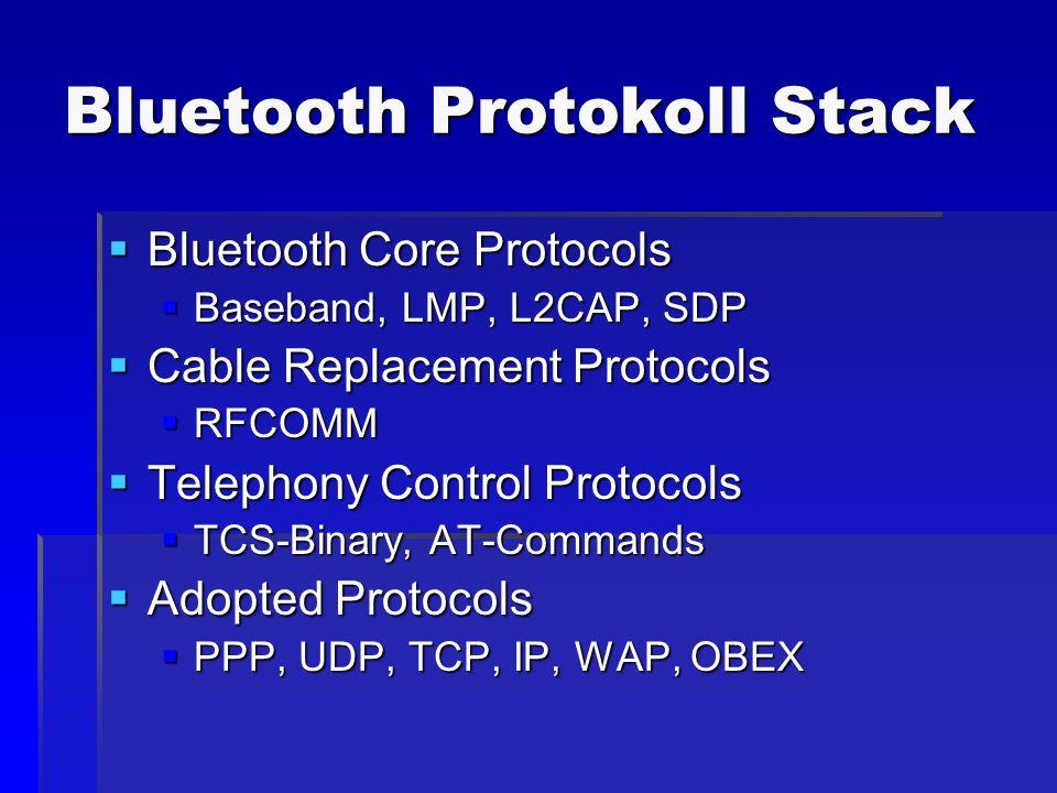 Bluetooth Protokoll Stack Bluetooth Core Protocols Bluetooth Core Protocols Baseband, LMP, L2CAP, SDP Baseband, LMP, L2CAP, SDP Cable Replacement Prot