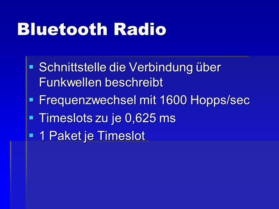Bluetooth Radio Schnittstelle die Verbindung über Funkwellen beschreibt Schnittstelle die Verbindung über Funkwellen beschreibt Frequenzwechsel mit 16