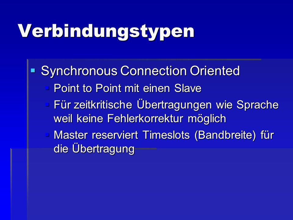 Verbindungstypen Synchronous Connection Oriented Synchronous Connection Oriented Point to Point mit einen Slave Point to Point mit einen Slave Für zei