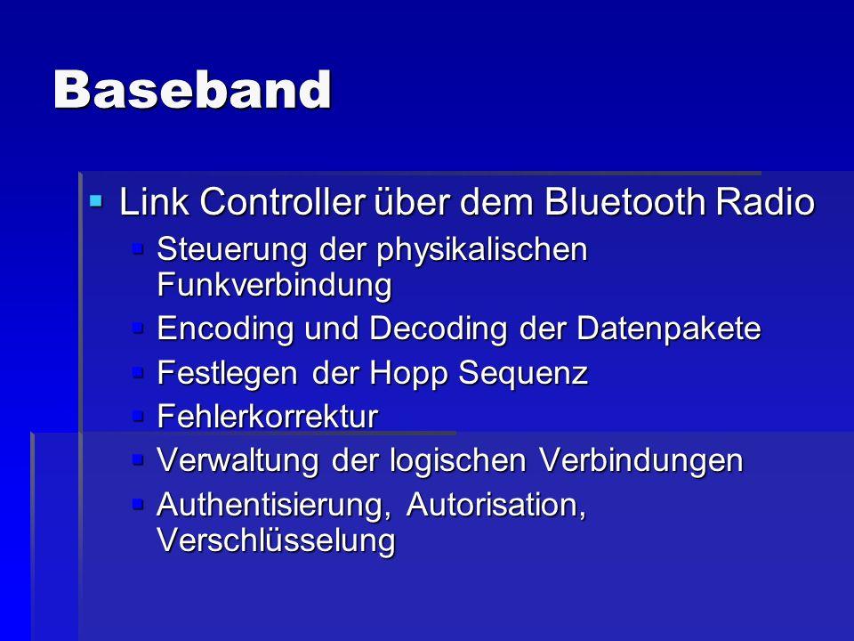 Baseband Link Controller über dem Bluetooth Radio Link Controller über dem Bluetooth Radio Steuerung der physikalischen Funkverbindung Steuerung der p