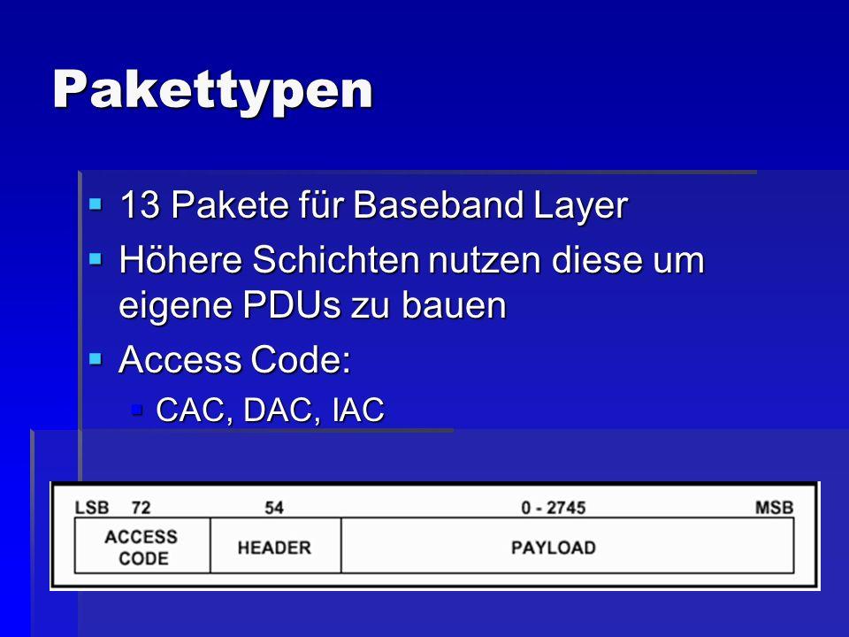 Pakettypen 13 Pakete für Baseband Layer 13 Pakete für Baseband Layer Höhere Schichten nutzen diese um eigene PDUs zu bauen Höhere Schichten nutzen die