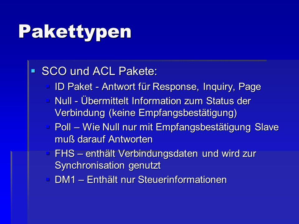 Pakettypen SCO und ACL Pakete: SCO und ACL Pakete: ID Paket - Antwort für Response, Inquiry, Page ID Paket - Antwort für Response, Inquiry, Page Null