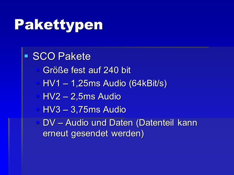 Pakettypen SCO Pakete SCO Pakete Größe fest auf 240 bit Größe fest auf 240 bit HV1 – 1,25ms Audio (64kBit/s) HV1 – 1,25ms Audio (64kBit/s) HV2 – 2,5ms