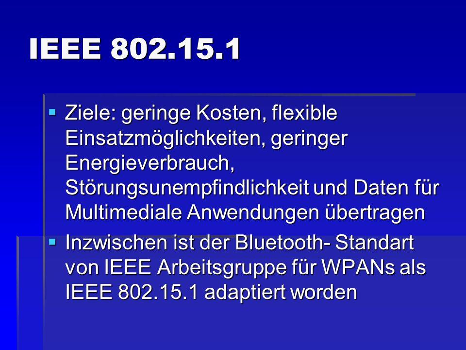 IEEE 802.15.1 Ziele: geringe Kosten, flexible Einsatzmöglichkeiten, geringer Energieverbrauch, Störungsunempfindlichkeit und Daten für Multimediale An