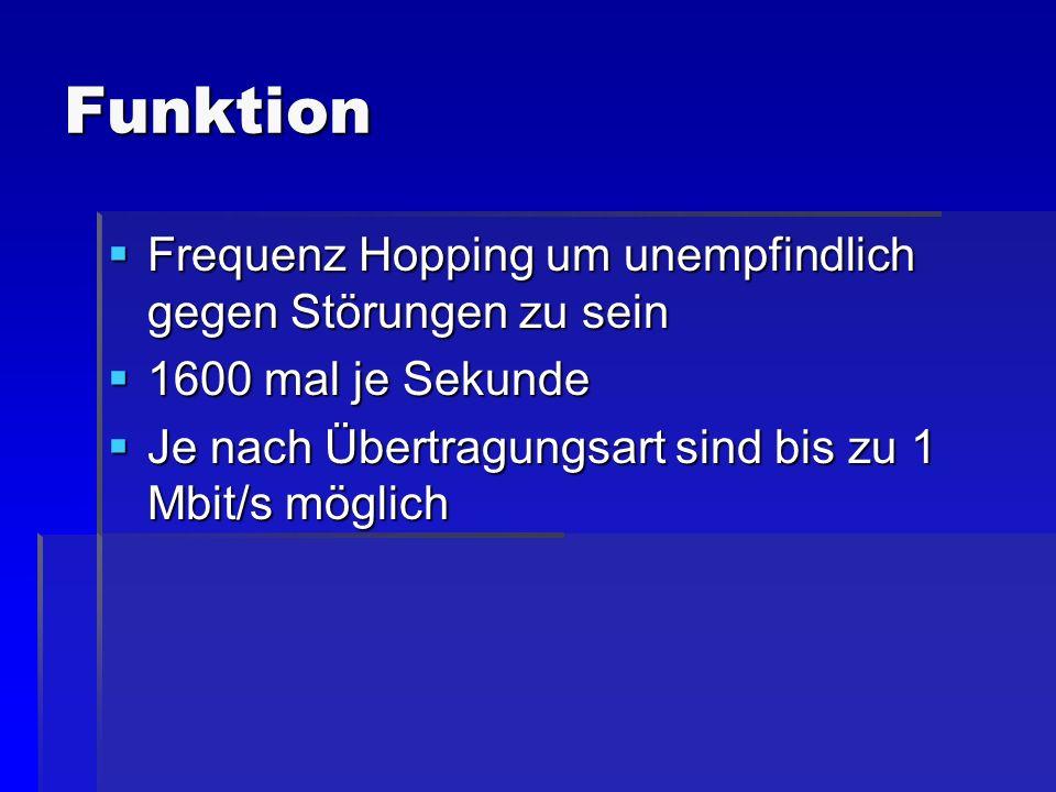 Funktion Frequenz Hopping um unempfindlich gegen Störungen zu sein Frequenz Hopping um unempfindlich gegen Störungen zu sein 1600 mal je Sekunde 1600