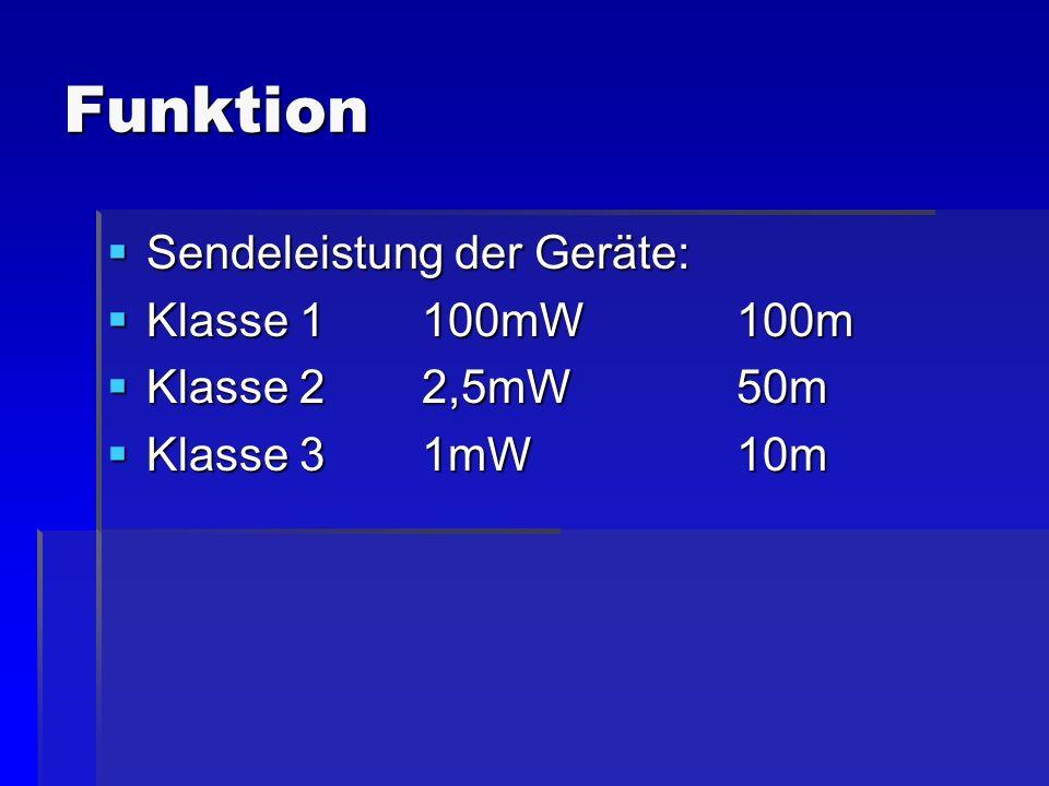 Funktion Sendeleistung der Geräte: Sendeleistung der Geräte: Klasse 1100mW100m Klasse 1100mW100m Klasse 2 2,5mW50m Klasse 2 2,5mW50m Klasse 31mW10m Kl