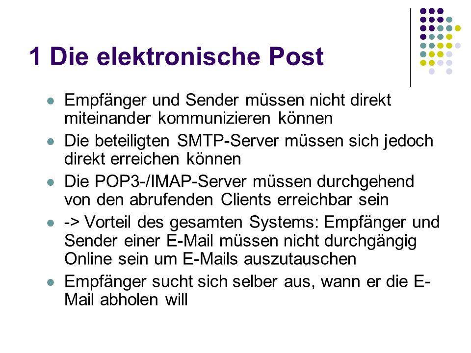 1 Die elektronische Post Empfänger und Sender müssen nicht direkt miteinander kommunizieren können Die beteiligten SMTP-Server müssen sich jedoch direkt erreichen können Die POP3-/IMAP-Server müssen durchgehend von den abrufenden Clients erreichbar sein -> Vorteil des gesamten Systems: Empfänger und Sender einer E-Mail müssen nicht durchgängig Online sein um E-Mails auszutauschen Empfänger sucht sich selber aus, wann er die E- Mail abholen will