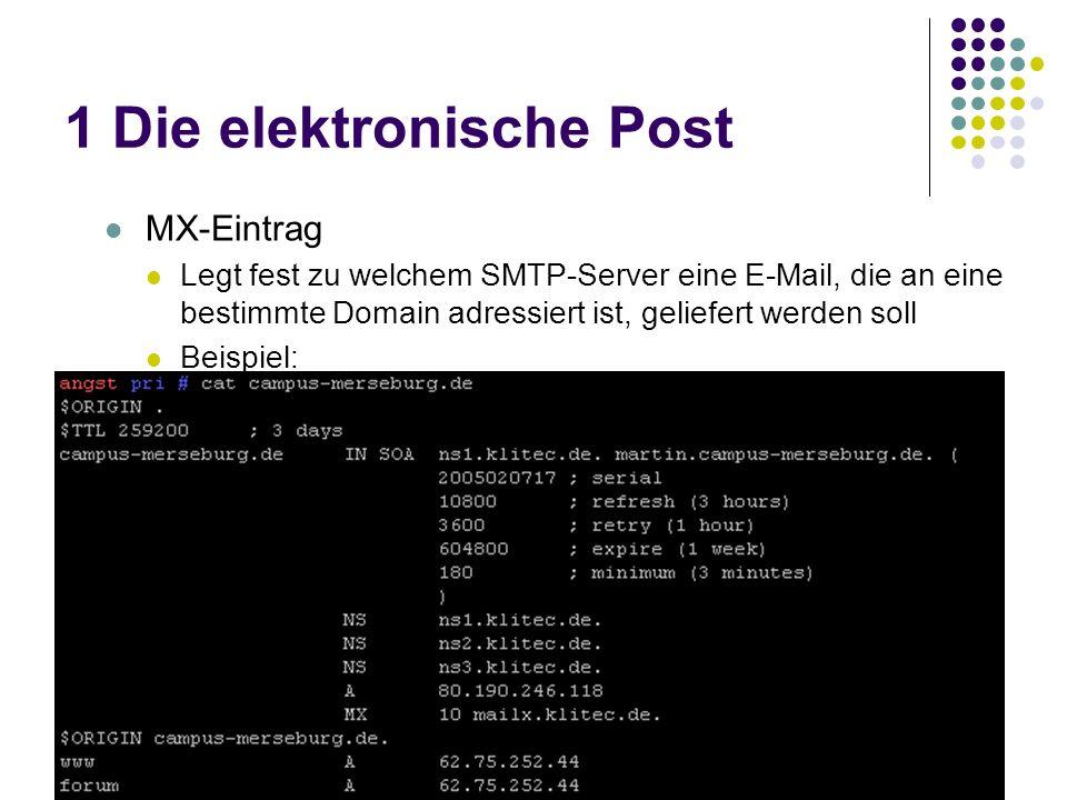 1 Die elektronische Post MX-Eintrag Legt fest zu welchem SMTP-Server eine E-Mail, die an eine bestimmte Domain adressiert ist, geliefert werden soll Beispiel: