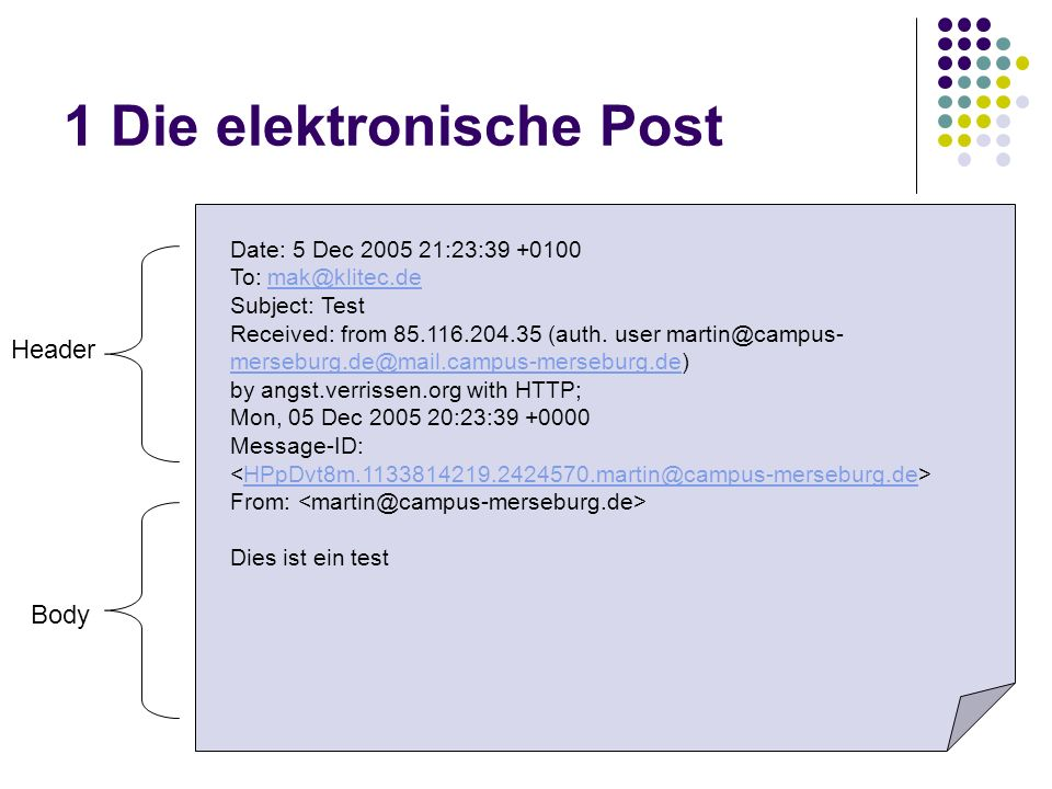 1 Die elektronische Post Date: 5 Dec 2005 21:23:39 +0100 To: mak@klitec.demak@klitec.de Subject: Test Received: from 85.116.204.35 (auth. user martin@