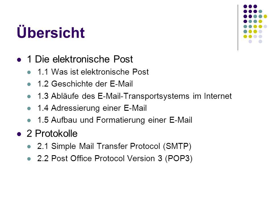 Übersicht 1 Die elektronische Post 1.1 Was ist elektronische Post 1.2 Geschichte der E-Mail 1.3 Abläufe des E-Mail-Transportsystems im Internet 1.4 Adressierung einer E-Mail 1.5 Aufbau und Formatierung einer E-Mail 2 Protokolle 2.1 Simple Mail Transfer Protocol (SMTP) 2.2 Post Office Protocol Version 3 (POP3)