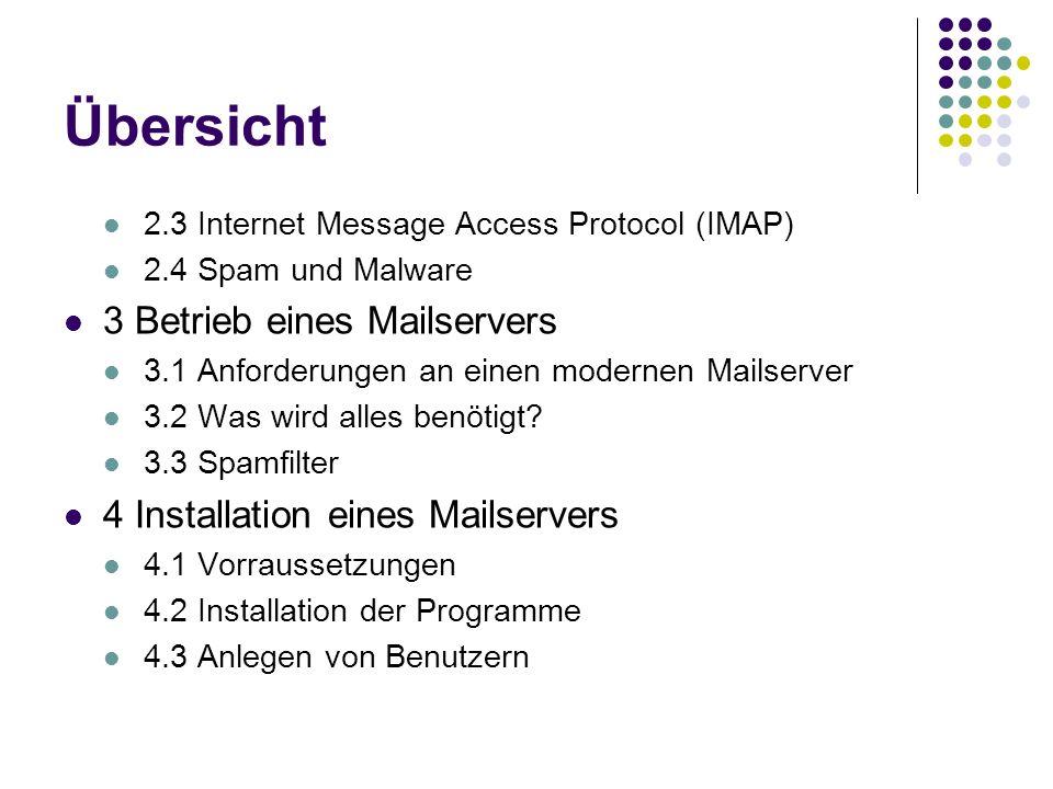 Übersicht 2.3 Internet Message Access Protocol (IMAP) 2.4 Spam und Malware 3 Betrieb eines Mailservers 3.1 Anforderungen an einen modernen Mailserver 3.2 Was wird alles benötigt.