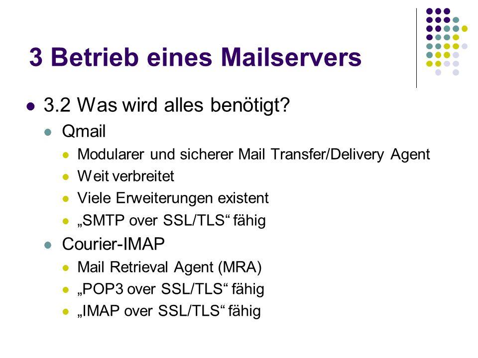 3 Betrieb eines Mailservers 3.2 Was wird alles benötigt.