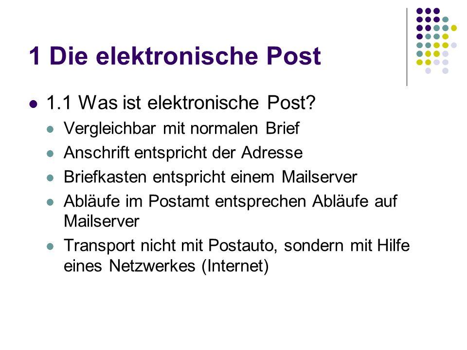 1 Die elektronische Post 1.1 Was ist elektronische Post.