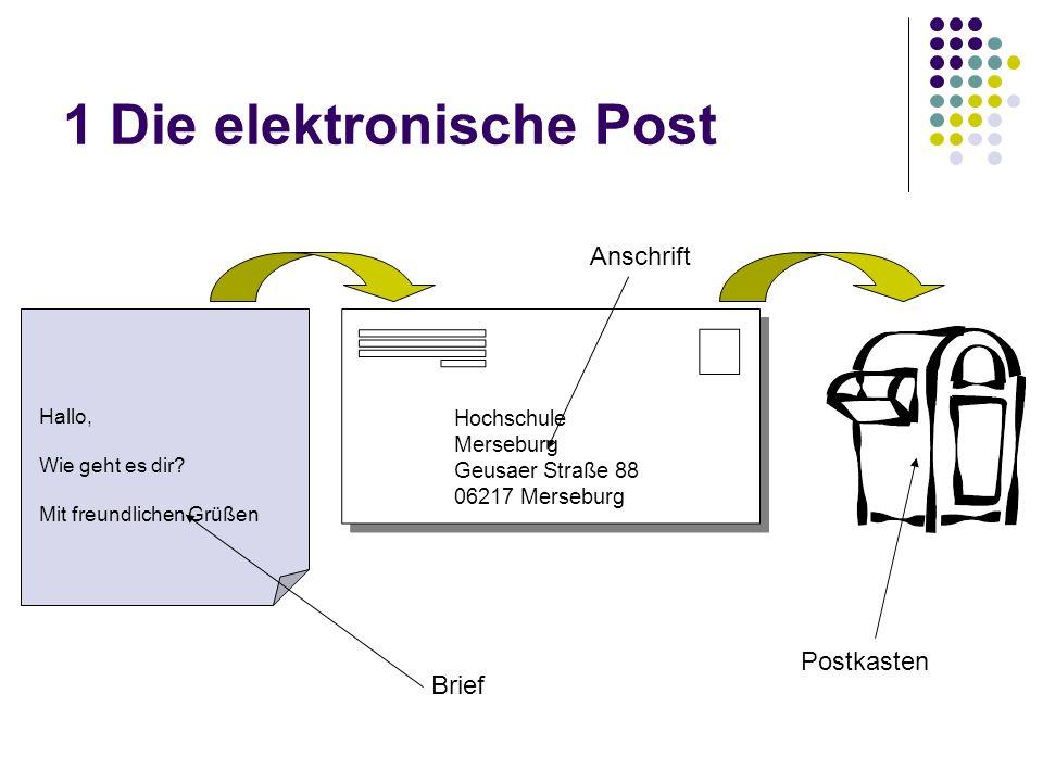 1 Die elektronische Post Hallo, Wie geht es dir.